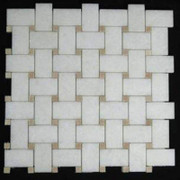 Statuary Crystal Marble Italian White Statuario Basketweave Mosaic Tile with Crema Marfil Dots Polished