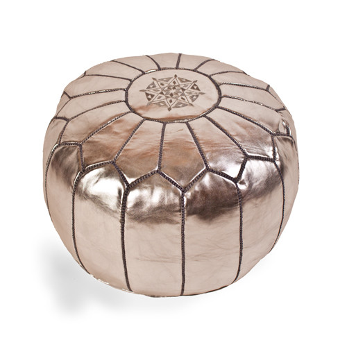 moroccan pouf silver metallic leather - Leather Pouf