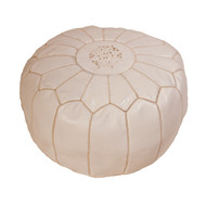 Moroccan Pouf White Leather