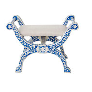 Bone Inlaid Regency Stool,blue
