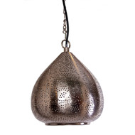 Moroccan Silver Lamp, Hanging Lattu Cone
