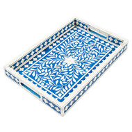 Indian Bone Inlaid Tray, Blue