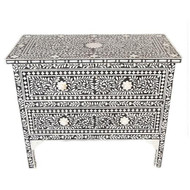 Indian Bone Inlay Black Dresser