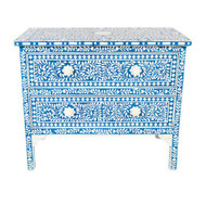 Indian Bone Inlay Blue Dresser