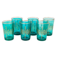 Moroccan Tea Glasses, Turqoise Set of 6