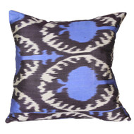 Ikat Pillow, Blue & Eggplant