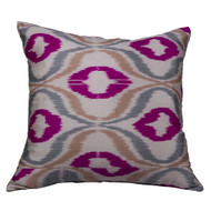 Ikat Pillow, Pink & Grey