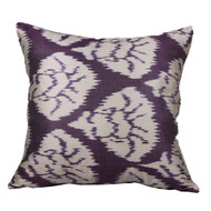 Ikat Pillow, Eggplant & White