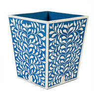 Waste Basket,Bone Inlay Blue