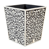 Waste Basket, Bone Inlay Black