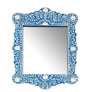 Tangier Bone Inlay Mirror, Blue