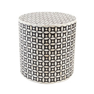 Indian Bone Inlaid Drum Stool / Table, Black