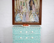 Indian Bone Inlaid Dresser 3 Drawers Turquoise