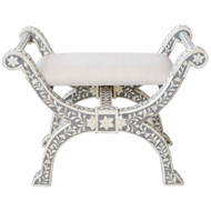 Indian Bone Inlaid Regency Stool,Gray