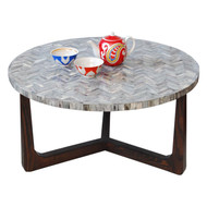 R70 Bone Inlaid Coffee Table, Grey 30""
