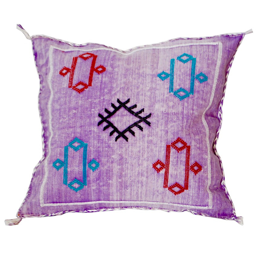 Moroccan Sabra Pillow Purple Silk Throw Pillows Sheherazade Home