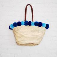 Moroccan Pom Pom Straw Bag