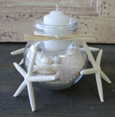 White Sea Glass Accent - Ivy Ball Candle