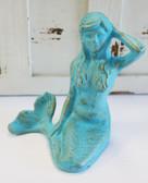 Blue Mermaid Iron Statue