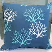 Navy Blue Pillow with White & Turquoise Coral Designs