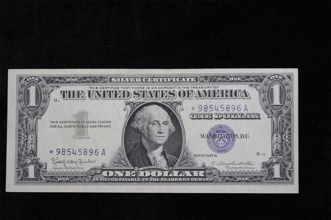 1957 B 1 Silver Certificate Paper Star Money Note 896a Northern