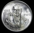1978 100 CIEN PESO MEXICO .720 SILVER (ASW .6387 TROY OUNCES)