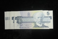 1986 $5 CANADA PAPER MONEY - ANH PRE FIX - BRAND NEW - 1 NOTE