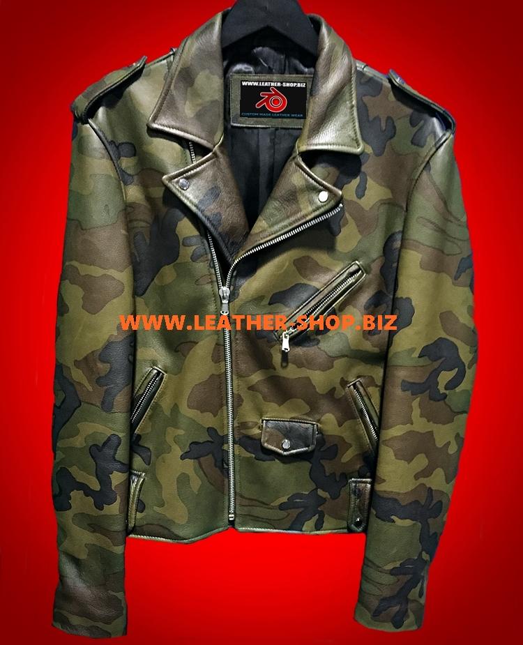 Camo Leather Jacket Custom Style MLJC101