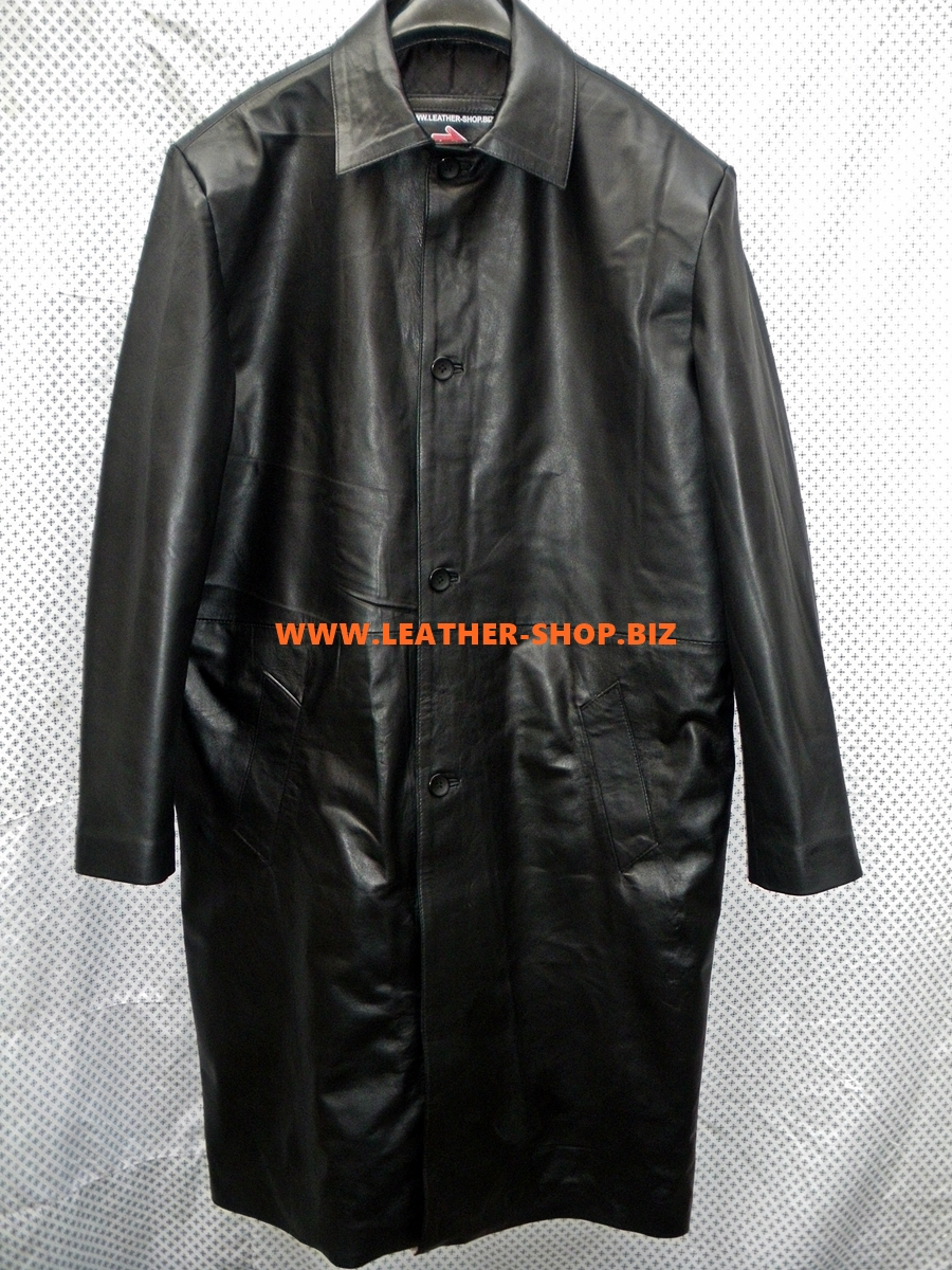 Leather Long Coat Custom Made Style MLC545 WWW.LEATHER-SHOP.BIZ