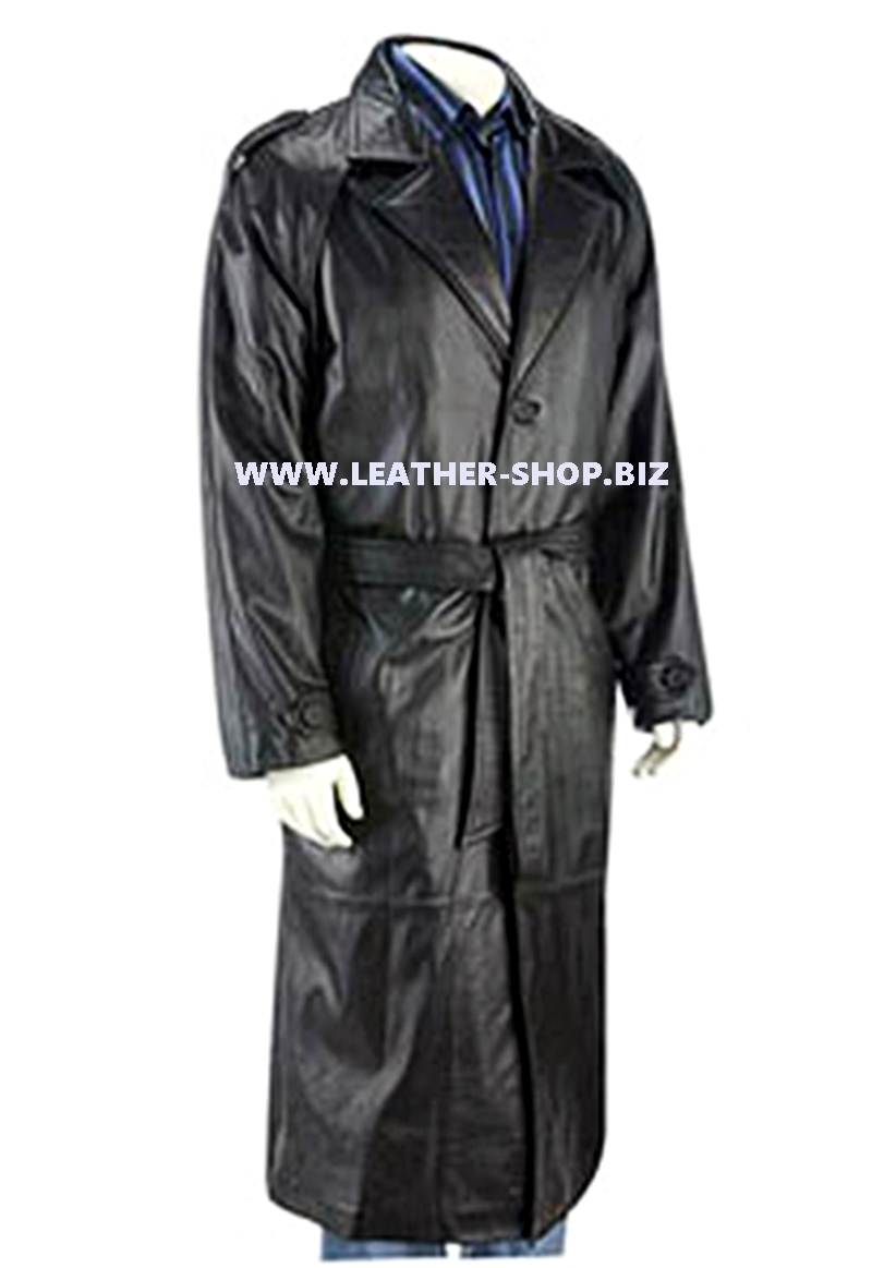 Mens Leather Trench Coat Custom Made Style MTC701