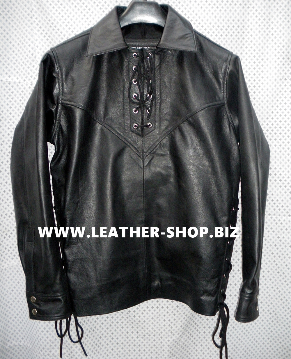 Mens leather shirts black images for Mens shirts with leather