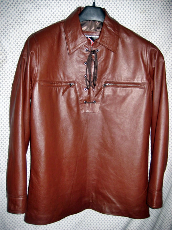 Pullover leather shirt with fringe style ls099 for sale for Mens shirts with leather