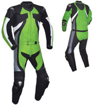 Leather racing suit custom made - style MS2677 WWW.LEATHER-SHOP.BIZ green front and back pic