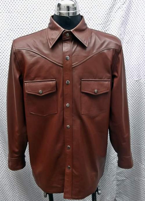 LS016 Brown lambskin leather shirt custom made  www.leather-shop.biz front pic
