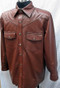LS016 Brown lambskin leather shirt custom made  www.leather-shop.biz side pic