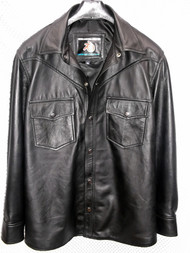 LS018 black lambskin leather shirt custom made  www.leather-shop.biz front pic