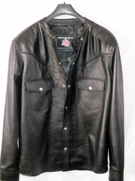 LS018NC no collar black lambskin leather shirt custom made  www.leather-shop.biz front pic