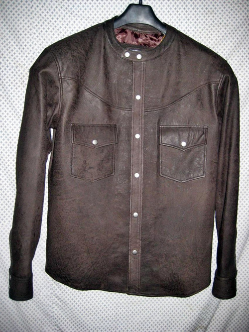Lambskin leather shirt style LS018 no collar distressed dark brown WWW.LEATHER-SHOP.BIZ front pic