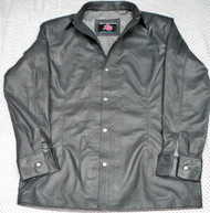 Mens lambskin leather shirt LS060 dark gray with French Cuffs front pic 2
