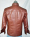 Mens lambskin leather shirt LS060 dark brown with French Cuffs back pic