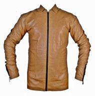 Mens lambskin leather shirt LS050Z brown with zippered front and cuffs front pic