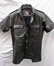 LS205 short sleeve leather shirt custom made www.leather-shop.biz front image