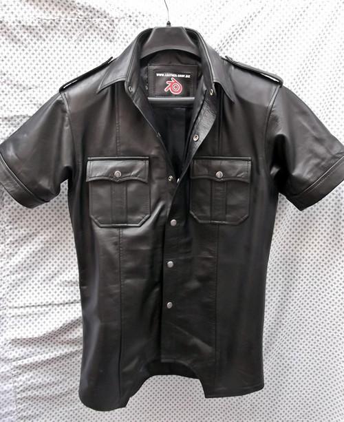 LS205 short sleeve leather shirt custom made www.leather-shop.biz front image