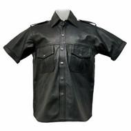 Lambskin Leather Short Sleeve Shirt Custom Made Style LS201