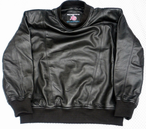 Leather lined leather sweat shirt LSS010 www.leather-shop.biz front pic