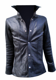 Leather shirt style LS060 black www.leather-shop.biz front image