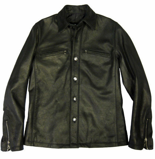 Leather shirt style LS066 www.leather-shop.biz front image