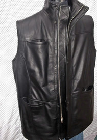 Long leather vest style MLVL10 www.leather-shop.biz front pic