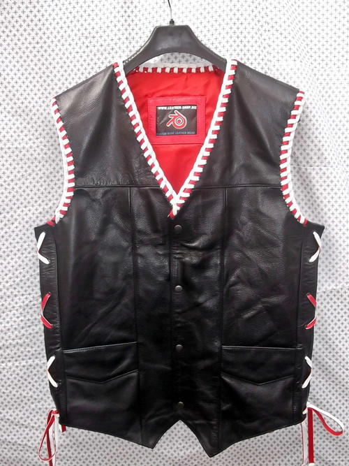 Leather Vest Braided Style MLVB730RW www.leather-shop.biz front pic