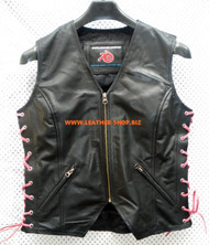 Ladies Leather Vest Style WLV1208 available in 8 colors